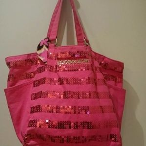Victoria's Secret Pink Canvas Sequence Tote Bag